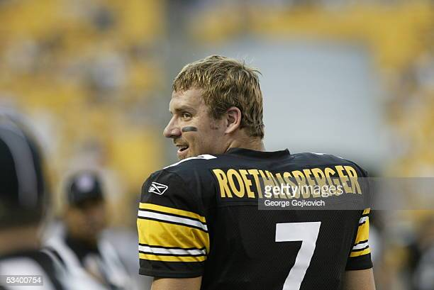 Quarterback Ben Roethlisberger of the Pittsburgh Steelers smiles while on the field before a preseason game against the Philadelphia Eagles at Heinz...