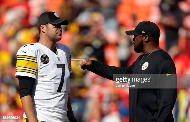 Quarterback Ben Roethlisberger of the Pittsburgh Steelers talks with head coach Mike Tomlin of the Pittsburgh Steelers prior to the game against the...