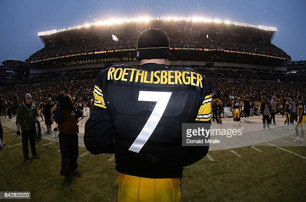 Quarterback Ben Roethlisberger of the Pittsburgh Steelers walks to the sidelines en route to his team's 3524 victory over the San Diego Chargers...