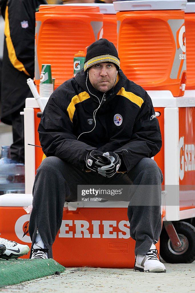 Quarterback Ben Roethlisberger #7 of the Pittsburgh Steelers watches the action from the sidelines during the game against the St. Louis Rams at Heinz Field on December 24, 2011 in Pittsburgh, Pennsylvania.
