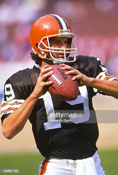 Quarterback Bernie Kosar of the Cleveland Brown warms up in pregames warm ups before an NFL football game at Cleveland Municipal Stadium circa 1987...