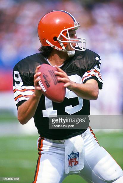 Quarterback Bernie Kosar of the Cleveland Brown warms up in pregames warm ups before an NFL football game at Cleveland Municipal Stadium circa 1987...