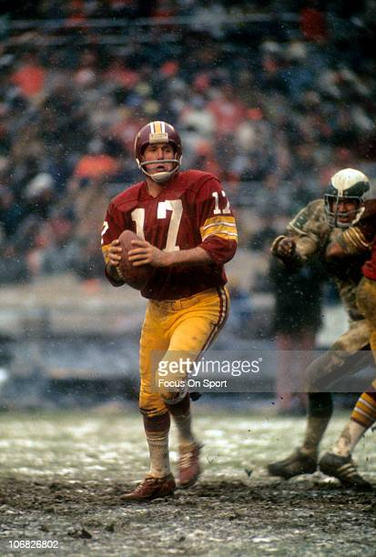 Quarterback Billy Kilmer of the Washington Redskins drops back to pass against the Philadelphia Eagles during an NFL football game at RFK Stadium...