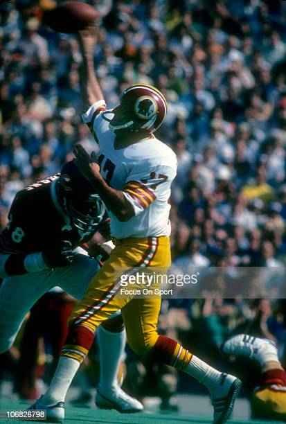 Quarterback Billy Kilmer of the Washington Redskins throws a pass against the Chicago Bears during an NFL football game at Soldier Field October 3...