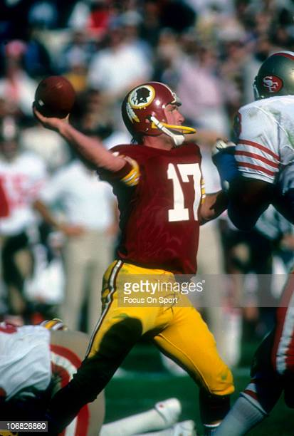Quarterback Billy Kilmer of the Washington Redskins throws a pass against the San Francisco 49ers during an NFL football game at RFK Stadium December...