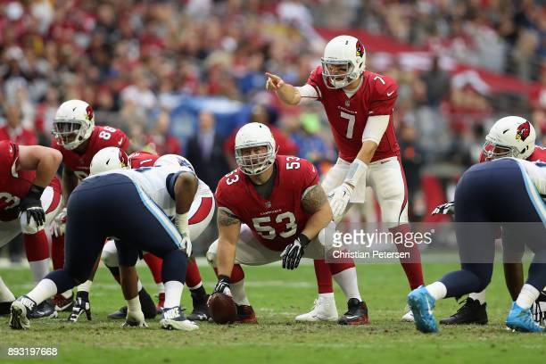 Quarterback Blaine Gabbert of the Arizona Cardinals calls a play during the NFL game against the Tennessee Titans at the University of Phoenix...