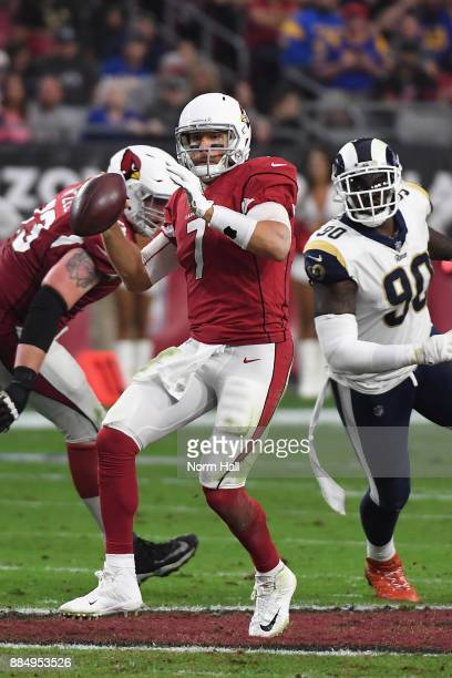 Quarterback Blaine Gabbert of the Arizona Cardinals throws a pass during the first half of the NFL game against the Los Angeles Rams at the...