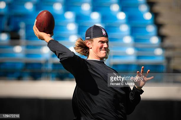 Quarterback Blaine Gabbert of the Jacksonville Jaguars warms up during a NFL game against the New Orleans Saints at EverBank Field on October 2 2011...