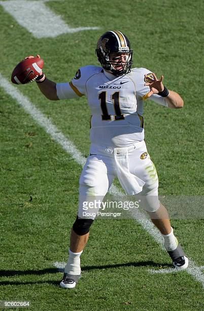 Quarterback Blaine Gabbert of the Missouri Tigers delivers a pass against the Colorado Buffaloes at Folsom Field on October 31 2009 in Boulder...