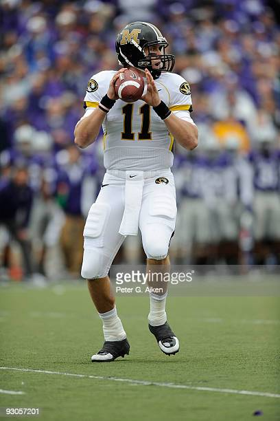 Quarterback Blaine Gabbert of the Missouri Tigers drops back to pass in the first quarter against the Kansas State Wildcats on November 14, 2009 at...