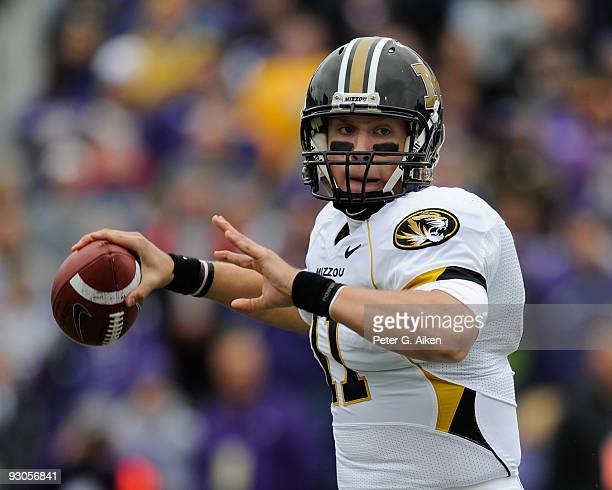 Quarterback Blaine Gabbert of the Missouri Tigers gets ready to throw the ball down field in the first quarter against the Kansas State Wildcats on...