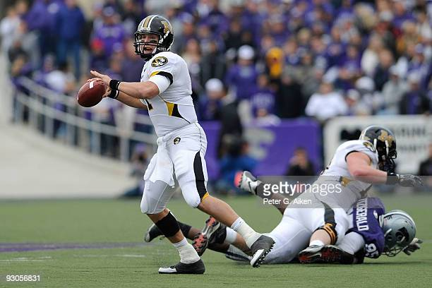 Quarterback Blaine Gabbert of the Missouri Tigers looks down field as he gets ready to throw the ball in the fourth quarter against the Kansas State...