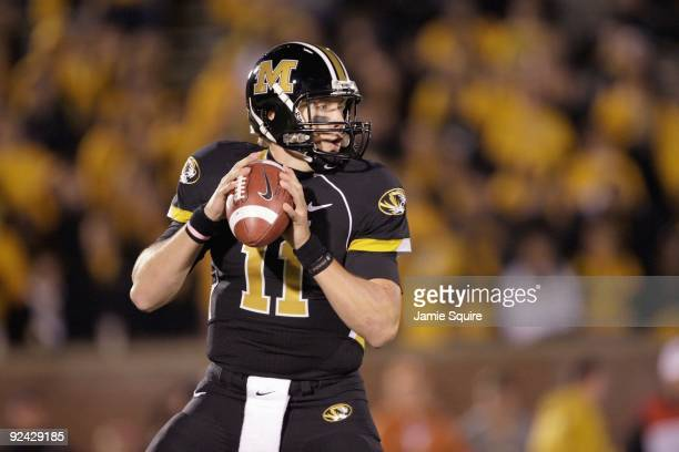 Quarterback Blaine Gabbert of the Missouri Tigers looks to pass the ball during the game against the Texas Longhorns on October 24, 2009 at Faurot...