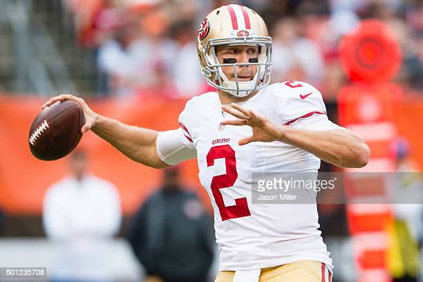 Quarterback Blaine Gabbert of the San Francisco 49ers passes during the first half against the Cleveland Browns at FirstEnergy Stadium on December 13...