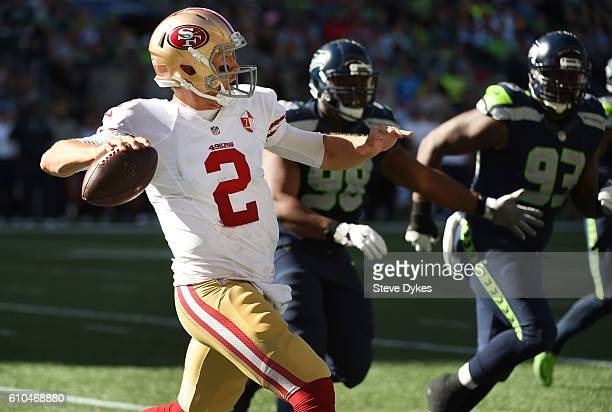 Quarterback Blaine Gabbert of the San Francisco 49ers passes the ball during the third quarter of the game at CenturyLink Field on September 25 2016...