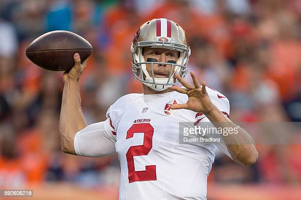 Quarterback Blaine Gabbert of the San Francisco 49ers throws a first quarter pass against the Denver Broncos during a preseason NFL game at Sports...