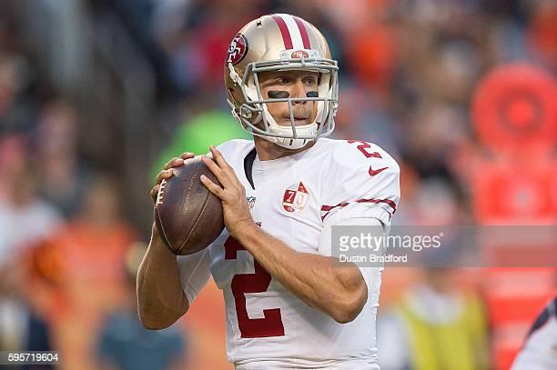 Quarterback Blaine Gabbert of the San Francisco 49ers throws a first quarter pass against the Denver Broncos during a preseason NFL game at Sports...