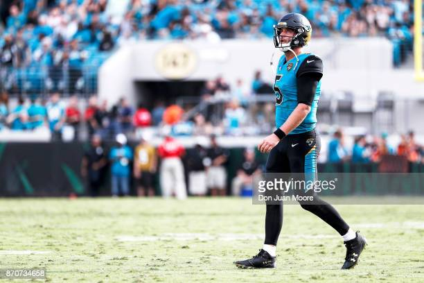Quarterback Blake Bortles of the Jacksonville Jaguars during the game against the Cincinnati Bengals at EverBank Field on November 5 2017 in...