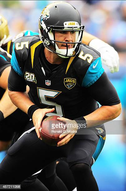 Quarterback Blake Bortles of the Jacksonville Jaguars in action during a NFL game against the Tennessee Titans at LP Field on October 12 2014 in...