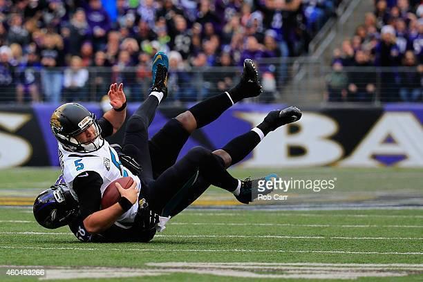 Quarterback Blake Bortles of the Jacksonville Jaguars is sacked by outside linebacker Elvis Dumervil of the Baltimore Ravens in the first quarter at...