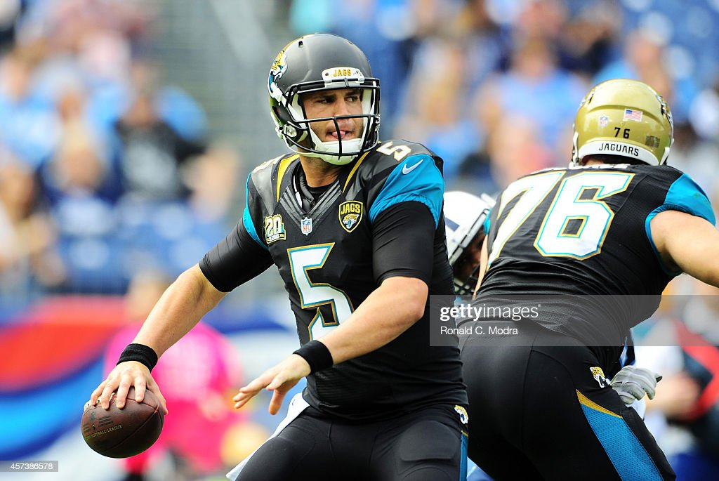 Quarterback Blake Bortles #5 of the Jacksonville Jaguars looks for a receiver during a NFL game against the Tennessee Titans at LP Field on October 12, 2014 in Nashville, Tennessee.