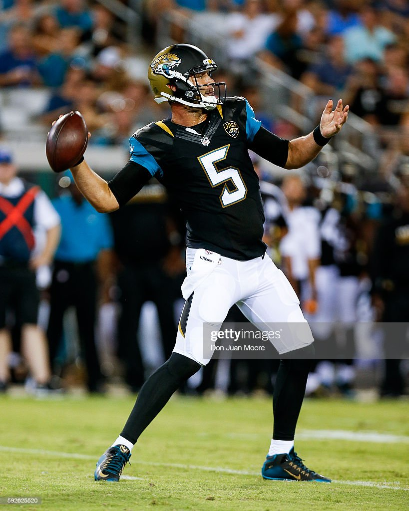 Quarterback Blake Bortles #5 of the Jacksonville Jaguars on a pass play during a preseason game against the Tampa Bay Buccaneers at EverBank Field on August 20, 2016 in Jacksonville, Florida. The Bucs defeated the Jags 27 to 21.