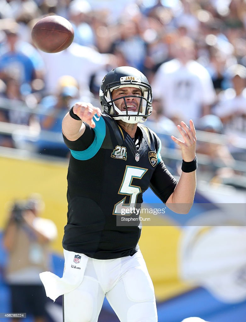 Quarterback Blake Bortles #5 of the Jacksonville Jaguars throws a pass against the San Diego Chargers at Qualcomm Stadium on September 28, 2014 in San Diego, California.