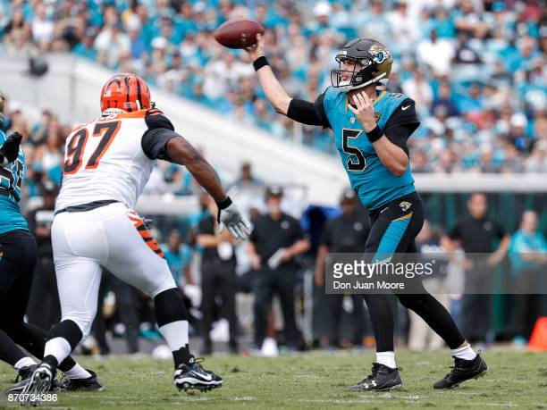 Quarterback Blake Bortles of the Jacksonville Jaguars throws a pass over Defensive Tackle Geno Atkins of the Cincinnati Bengals during the game at...