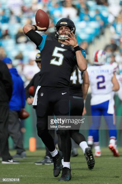 Quarterback Blake Bortles of the Jacksonville Jaguars warms up before the start of the AFC Wild Card Playoff game against the Buffalo Bills at...
