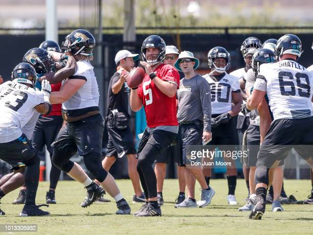 Quarterback Blake Bortles of the Jacksonville Jaguars works out during Training Camp at Dream Finders Homes Practice Complex on July 27 2018 in...