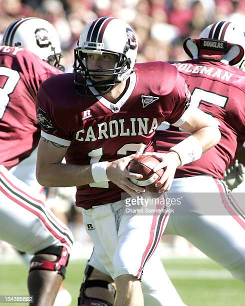 USC quarterback Blake Mitchell looks to hand the ball off against Florida on November 12 2005 at WilliamsBrice Stadium in Columbia South Carolina