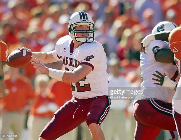 Quarterback Blake Mitchell of the South Carolina Gamecocks looks to pass the ball during the game against the Clemson Tigers at Memorial Stadium on...