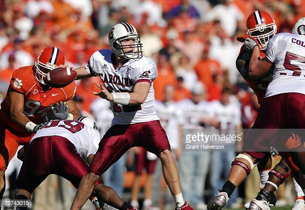 Quarterback Blake Mitchell of the South Carolina Gamecocks passes the ball during the game against the Clemson Tigers at Memorial Stadium on November...