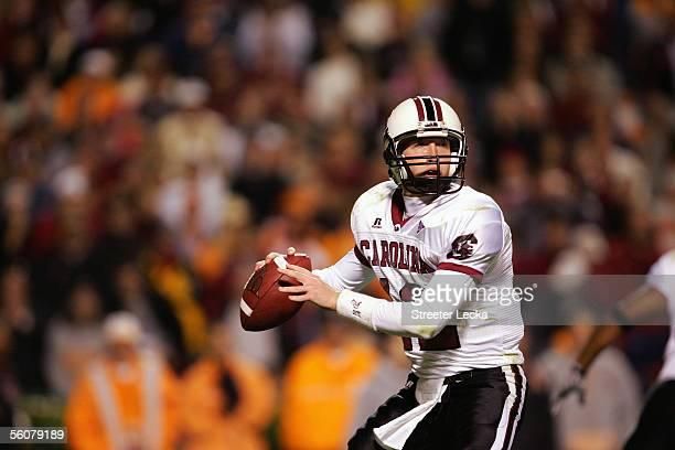 Quarterback Blake Mitchell of the University of South Carolina Gamecocks looks to pass during a game against the University of Tennessee Volunteers...