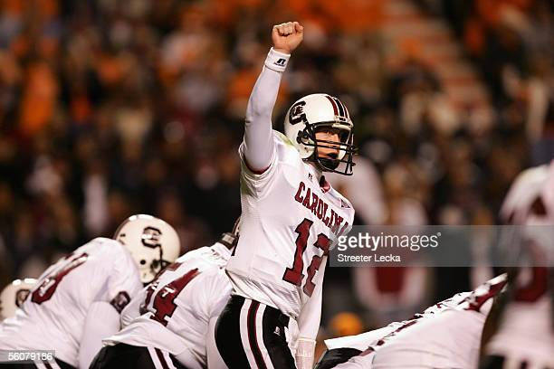 Quarterback Blake Mitchell of the University of South Carolina Gamecocks changes the play at the line of scrimmage during a game against the...