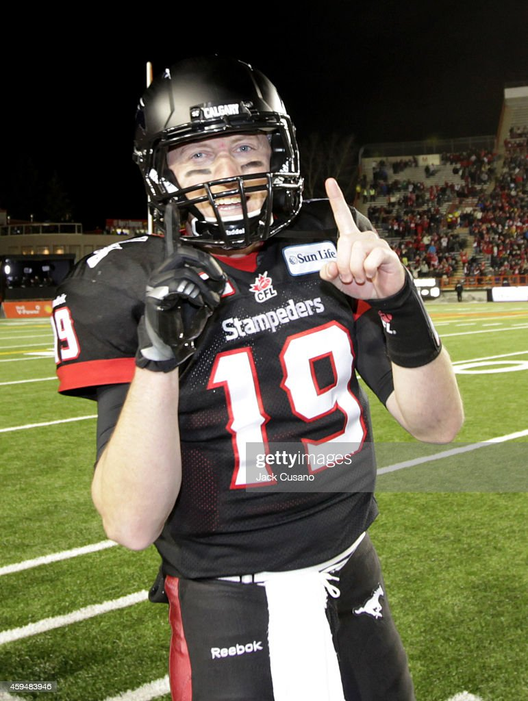 Quarterback Bo Levi Mitchell #19 of the Calgary Stampeders celebrates after the game against the Edmonton Eskimos in the divisional finals at McMahon Stadium on November 23, 2014 in Calgary, Alberta, Canada.