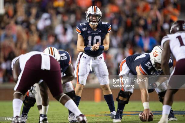 Quarterback Bo Nix of the Auburn Tigers during their game against the Mississippi State Bulldogs at JordanHare Stadium on September 28 2019 in Auburn...