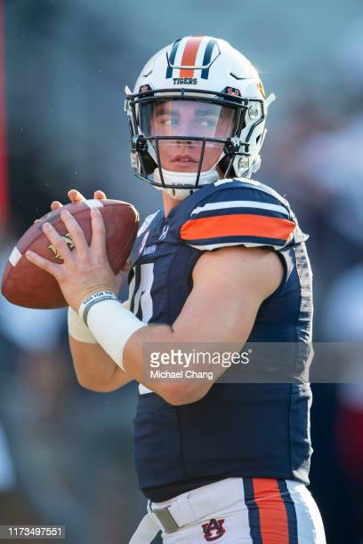 Quarterback Bo Nix of the Auburn Tigers prior to their game against the Tulane Green Wave at JordanHare Stadium on September 7 2019 in Auburn Alabama