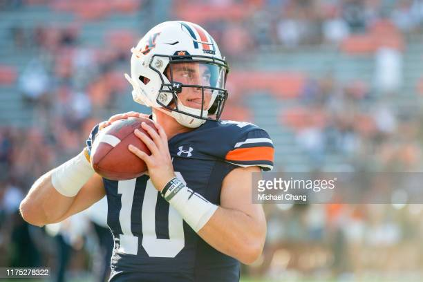 Quarterback Bo Nix of the Auburn Tigers prior to their game against the Kent State Golden Flashes at JordanHare Stadium on September 14 2019 in...