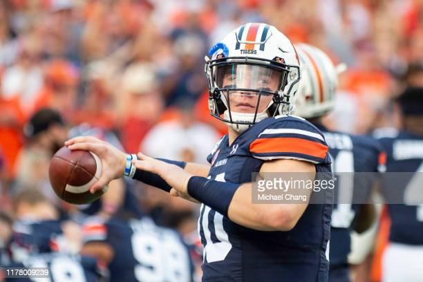 Quarterback Bo Nix of the Auburn Tigers prior to their game against the Mississippi State Bulldogs at JordanHare Stadium on September 28 2019 in...