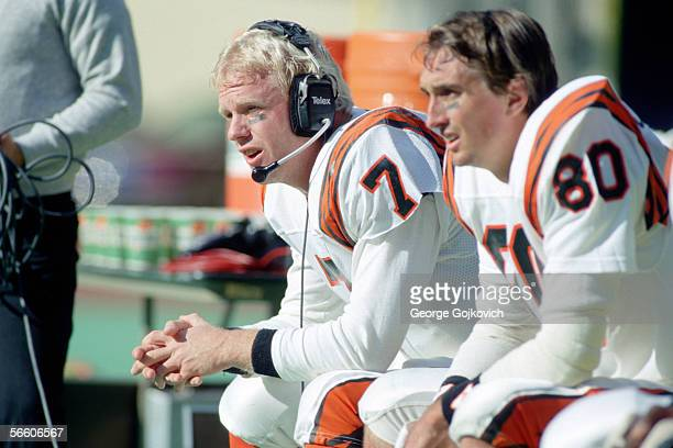 Quarterback Boomer Esiason of the Cincinnati Bengals sits on the bench near wide receiver Cris Collinsworth during a game against the Pittsburgh...