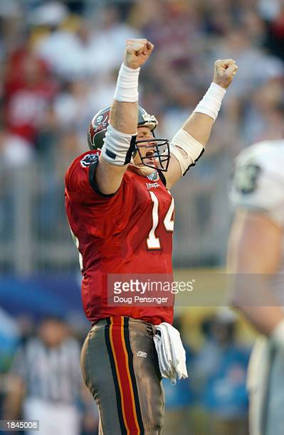 Quarterback Brad Johnson of the Tampa Bay Buccaneers celebrates a touchdown against the Oakland Raiders in Super Bowl XXXVII on January 26 2003 at...