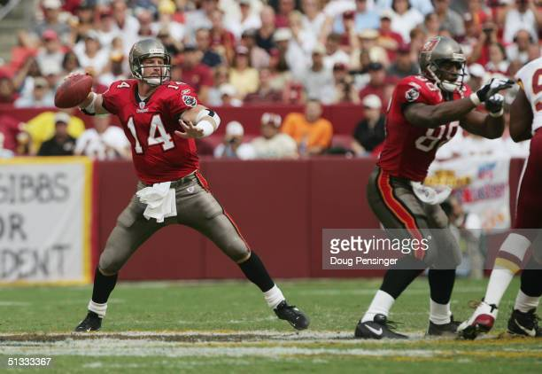 Quarterback Brad Johnson of the Tampa Bay Buccaneers passes during NFL week one game against the Washington Redskins at FedEx Field on September 12...