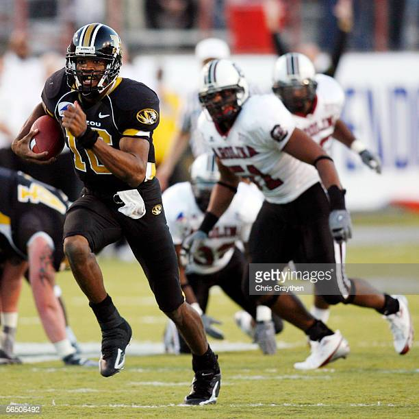 Quarterback Brad Smith of the Missouri Tigers rushes for a touchdown in the third quarter against the South Carolina Gamecocks during the...