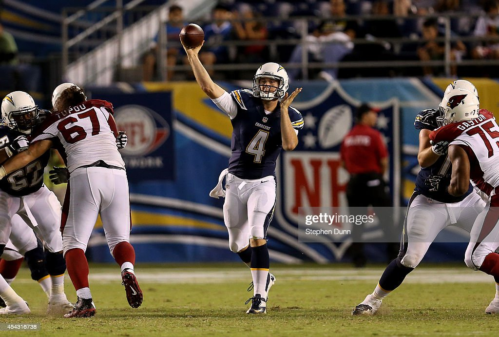 Quarterback Brad Sorensen #4 of the San Diego Chargers throws a pass against the Arizona Cardinals at Qualcomm Stadium on August 28, 2014 in San Diego, California. The Chargers won 12-9.