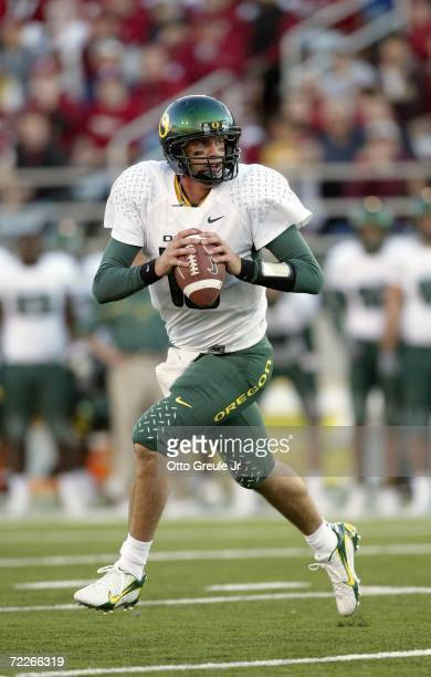 Quarterback Brady Leaf of the Oregon Ducks rolls out against the Washington State Cougars on October 21 2006 at Martin Stadium in Pullman Washington...
