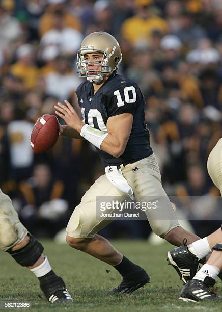 Quarterback Brady Quinn of the Notre Dame Fighting Irish looks to pass during the game against the Navy Midshipman on November 12 2005 at Notre Dame...