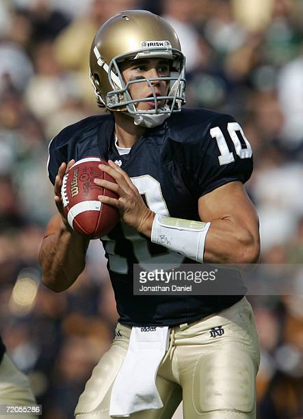 Quarterback Brady Quinn of the Notre Dame Fighting Irish looks to pass against the Purdue Boilermakers September 30 2006 at Notre Dame Stadium in...