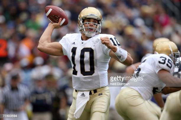 Quarterback Brady Quinn of the Notre Dame Fighting Irish looks to pass against the Navy Midshipmen on October 28 2006 at MT Bank Stadium in Baltimore...
