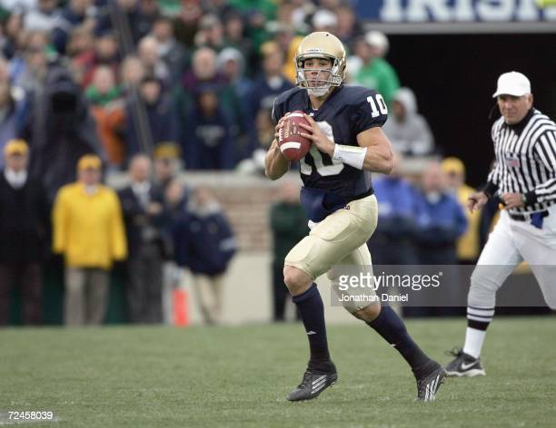 Quarterback Brady Quinn of the Notre Dame Fighting Irish moves to pass the ball during the game against the North Carolina Tar Heels on November 4,...